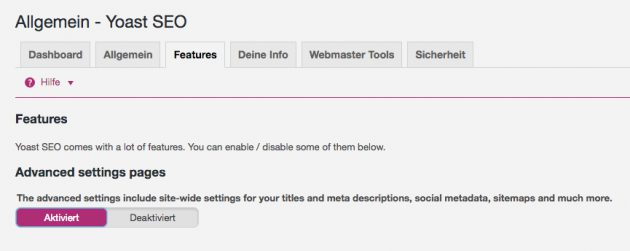 Yoast SEO Einstellungen - Advanced Setting Pages aktivieren