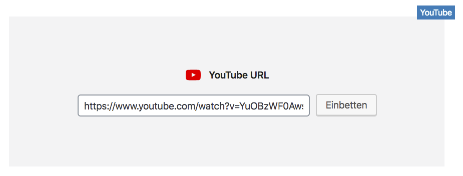 WordPress YouTube Block mit einer YouTube URL.